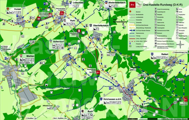 Wanderkarte Drei-Kastelle-Rundweg
